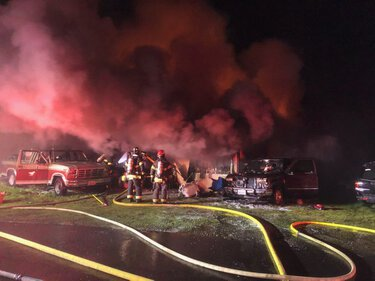 One person died early Tuesday morning in a fire at a mobile home park in Kent. (Puget Sound Fire)