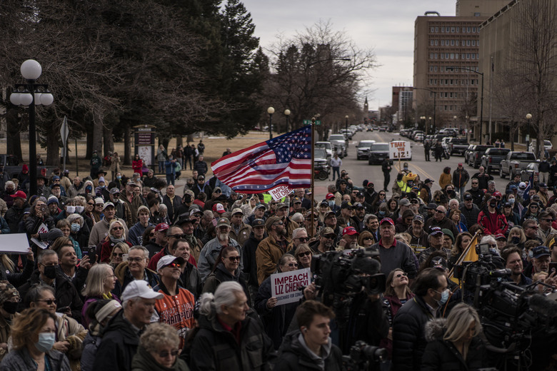 Hundreds attend a rally outside the Wyoming Capitol in Cheyenne on Thursday to criticize Rep. Liz Cheney, R-Wyo., for her vote to impeach Trump. (Photo by Chet Strange for The Washington Post).