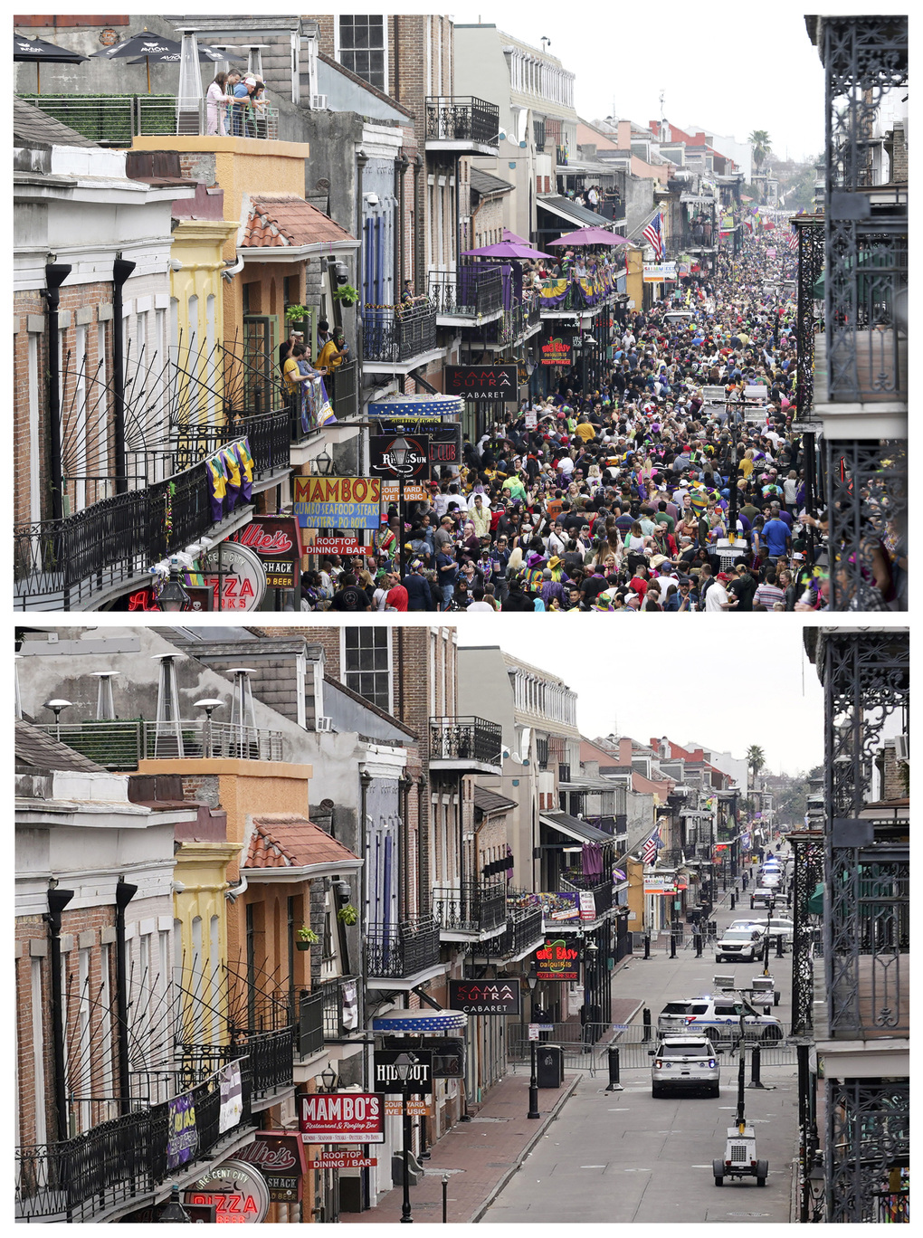This combination of Tuesday, Feb. 25, 2020, top, and Tuesday, Feb. 16, 2021 photos shows Bourbon Street in the French Quarter of New Orleans on Mardi Gras day. Between cold weather and COVID-19, morning streets were nearly empty rather than jam-packed with picnickers and parade watchers. All parades are canceled and bars throughout the city have been closed since Friday. (AP Photo/Rusty Costanza, Gerald Herbert)