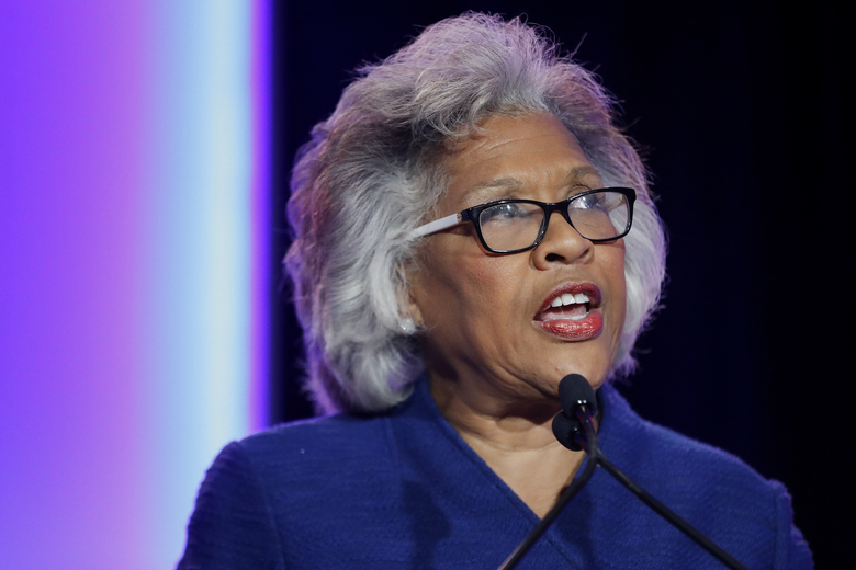 FILE – In this Nov. 6, 2018, file photo, Rep. Joyce Beatty, D-Ohio, speaks to the audience during the Ohio Democratic Party election night watch party in Columbus, Ohio. An open Senate seat in Ohio has set off a round of jockeying among ambitious Democrats and a spirited debate over who is best poised to lead a party comeback in a one-time battleground that has been trending Republican. (AP Photo/John Minchillo, File)
