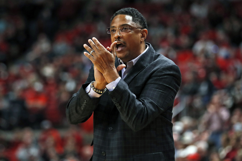 FILE – In this Saturday, Dec. 21, 2019, file photo, Texas-Rio Grande Valley coach Lew Hill claps after a play during the first half of an NCAA college basketball game against Texas Tech, in Lubbock, Texas. Texas Rio Grande Valley says Hill died Sunday, Feb. 7, 2021, a day after coaching a basketball game against Texas Southern. He was 55. (AP Photo/Brad Tollefson, File)
