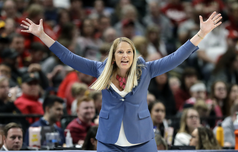 FILE – Maryland head coach Brenda Frese gestures during the second half of an NCAA college basketball semifinal game against Indiana at the Big Ten Conference tournament in Indianapolis, in this Saturday, March 7, 2020, file photo. Frese stands one victory away from tying Weller for most wins at Maryland, with No. 499 ripe to be plucked on Thursday, Feb. 4, 2021, when the 10th-ranked Terrapins (12-2, 8-1) host struggling Wisconsin (4-11, 1-11). (AP Photo/Darron Cummings)