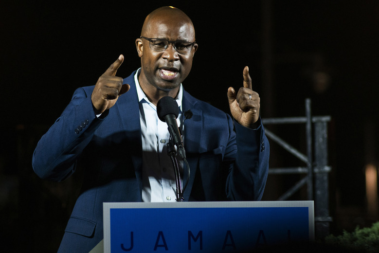 FILE – This June 23, 2020 file photo shows Jamaal Bowman speaking to attendees during his primary-night party.  (AP Photo/Eduardo Munoz Alvarez, FIle)