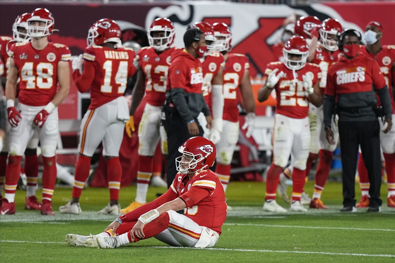 Kansas City Chiefs quarterback Patrick Mahomes (15) sits on the turf during the second half of the NFL Super Bowl 55 football game against the Tampa Bay Buccaneers, Sunday, Feb. 7, 2021, in Tampa, Fla. (AP Photo / David J. Phillip)