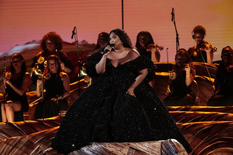 Lizzo performs at the 2020 Grammy Awards at Staples Center in Los Angeles. This year's telecast starts at 5 p.m. Sunday, March 14, on CBS, and streams on Paramount and services such as Hulu with Live TV and YouTube TV. (Robert Gauthier / Los Angeles Times / TNS)