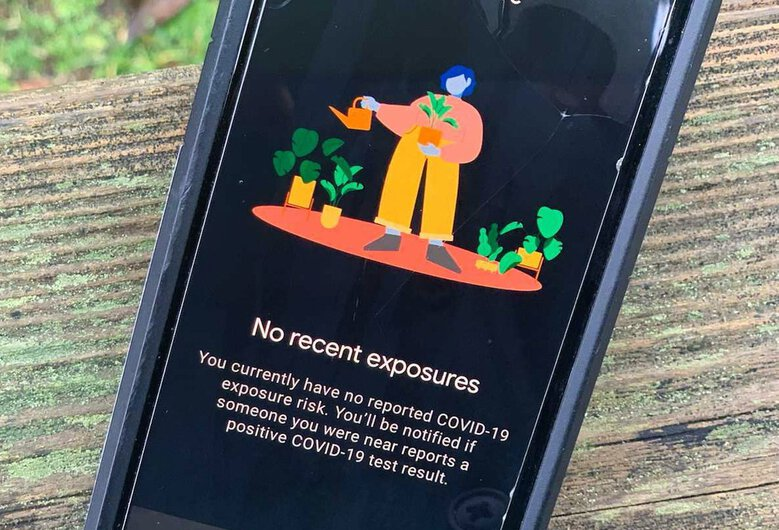 A photo of the WA Notify app on an Android phone. The app is active and is sending notifications to people who may have been exposed, but the state does not have reliable data on how many times the app has been used to alert people or on how many people have been alerted. (David Gutman / The Seattle Times)