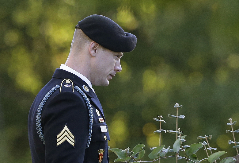 FILE – In this Nov. 3, 2017, file photo, Army Sgt. Bowe Bergdahl leaves the Fort Bragg courtroom facility during deliberations at a sentencing hearing in Fort Bragg, N.C.  Bergdahl, who was court martialed after he left his post and was captured by the Taliban is asking a federal judge to overturn his military conviction, saying his trial was unduly influenced when former President Donald Trump repeatedly made disparaging comments about him and called for his execution. (AP Photo/Gerry Broome, File)