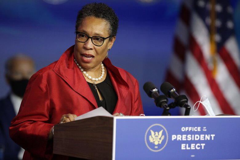 Rep. Marcia Fudge, D-Ohio, speaks in December after being formally nominated by President-elect Joe Biden to lead the Department of Housing and Urban Development. (Joshua Lott / The Washington Post)
