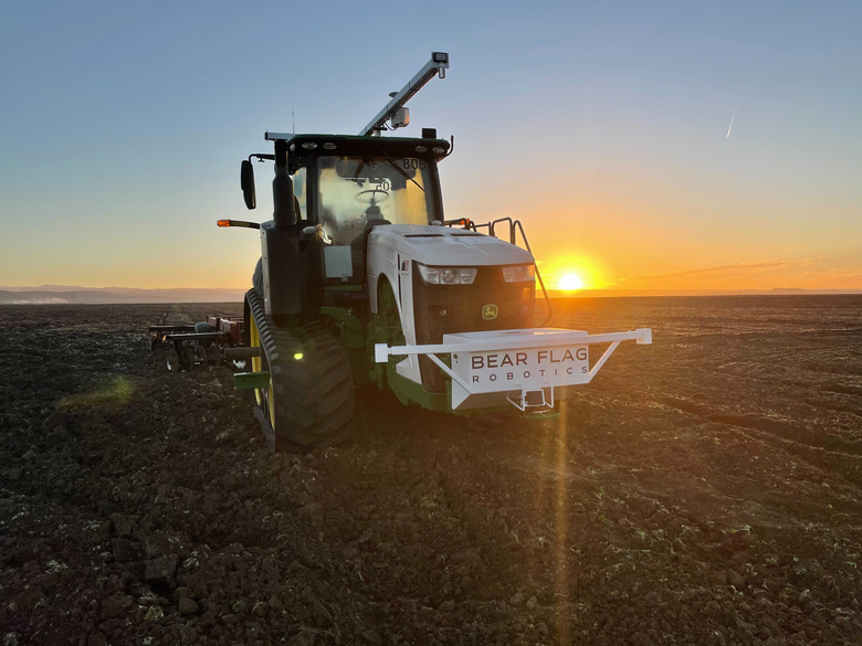 Bear Flag Robotics equips ordinary farm tractors with autonomous software. Labor costs, climate change and growing food demand are ushering in an era of machine modernization across the nation's agricultural landscape. (Bear Flag Robotics)