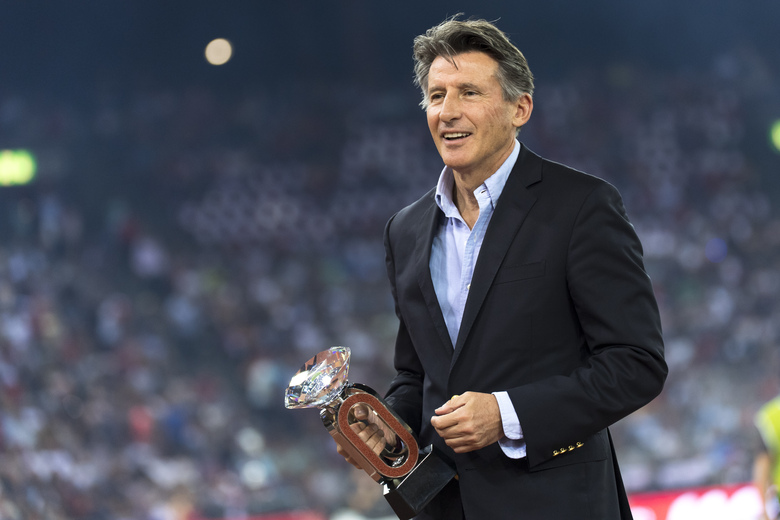 """FILE – In this Thursday, Aug. 29, 2019 file photo, IAAF President British Lord Sebastian Coe at the award ceremony during the Weltklasse IAAF Diamond League international athletics meeting in the stadium Letzigrund in Zurich, Switzerland. The Diamond League will hold its season opener in Britain for the first time with Gateshead replacing Rabat as the 2021 campaign's first host city, it was announced Friday, April 16, 2021. Diamond League chairman Sebastian Coe says it's an """"incredibly important year"""" with track-and-field athletes preparing for this summer's Tokyo Olympics as well as next year's World Athletics Championships in Oregon. (Jean-Christophe Bott/Keystone via AP, file)"""