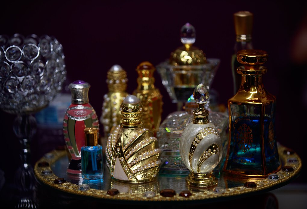 Displays of perfume at a stall at the  SeaTac International Mall. (Erika Schultz / The Seattle Times)