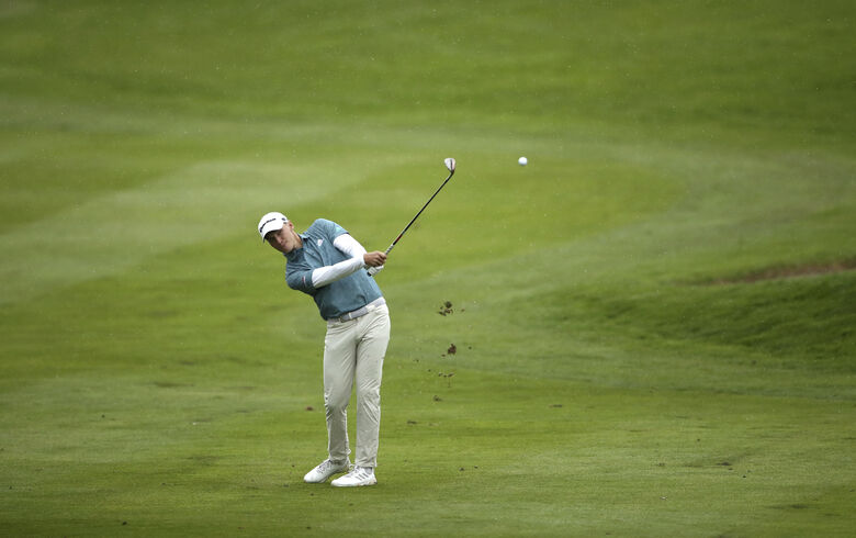 Denmark's Rasmus Hojgaard plays off the 16th fairway during day two of the British Masters at The Belfry, Sutton Coldfield, England, Thursday May 13, 2021. (Tim Goode/PA via AP)
