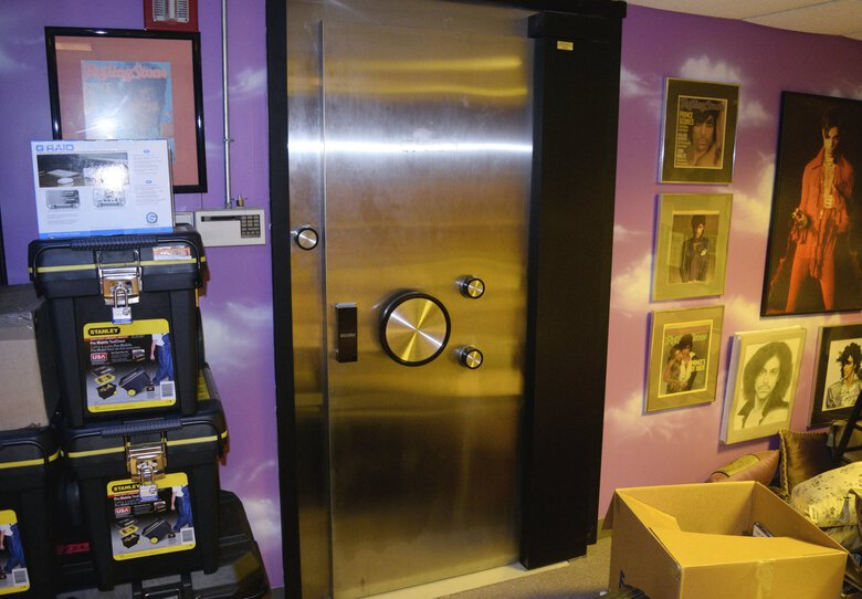 """The entrance to a vault inside Prince's Paisley Park estate in Chaska, Minn. Dave McOmie, of Camas, drilled through the 3-ton door of Prince's music vault. McOmie has written """"Safecracker,"""" a new memoir about his life's work. (Carver County Sheriff's Office via AP)"""