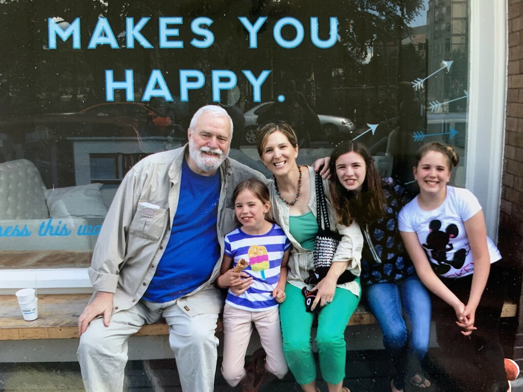 George Bakan, pictured here with his daughter Angela Cragin and his granddaughters Lucy, Julia and Molly, was editor and publisher of the Seattle Gay News from 1982 until his death in June 2020. With the Seattle Gay News, he created a place where Seattle's LGBTQ+ community could feel a sense of solidarity. (Courtesy of Angela Cragin)