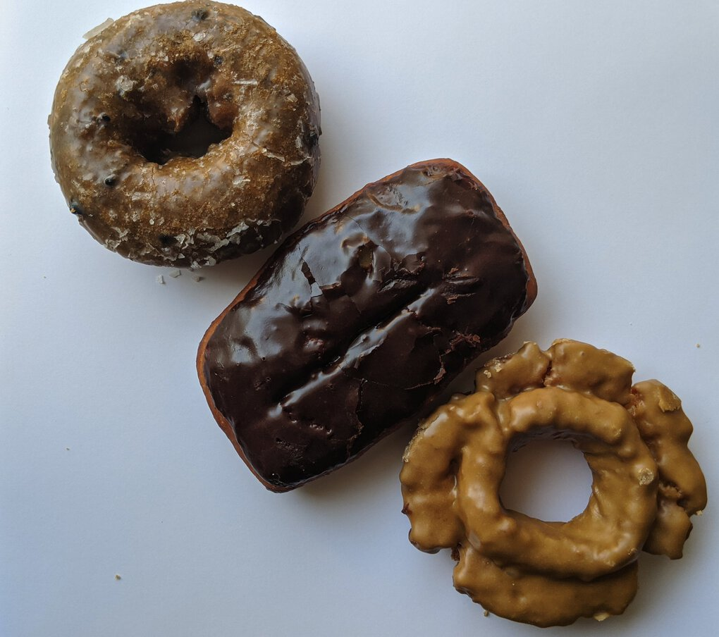 The chocolate glazed bar at Rainier Beach's King Donuts was the best donut our food writer tried.  (Jackie Varriano / The Seattle Times)
