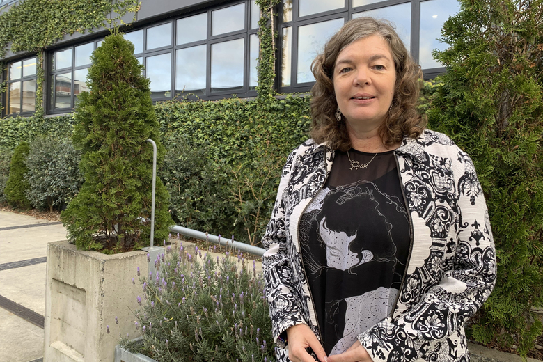 Juliet Gerrard, the chief science advisor to New Zealand Prime Minister Jacinda Ardern, poses for a photo in Wellington, New Zealand on June 11, 2021. Gerrard who has played a key role in New Zealand's lauded coronavirus response says the nation used its luck well to stamp out the disease and is now eyeing the experiences of other countries to determine when it can reopen its borders. (AP Photo/Nick Perry)