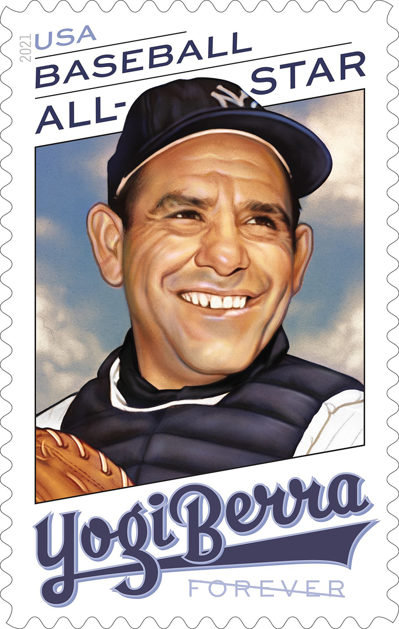 """This handout provided by the United States Postal Service shows the Yogi Berra stamp, issued on Thursday, June 24, 2021. """"We hope this stamp will serve as a reminder of Yogi's larger than life personality — both on and off the field,"""" said Ron A. Bloom, chairman, U.S. Postal Service Board of Governors.(United States Postal Service via AP)"""