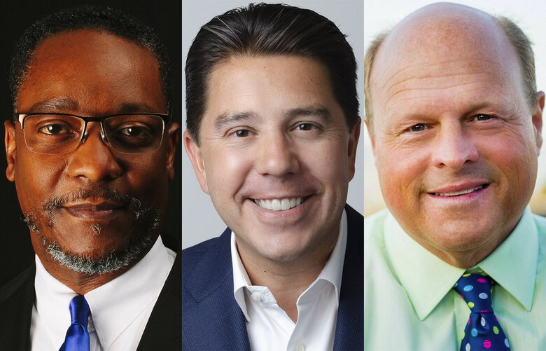 2021 Seattle mayoral candidates, from left, Lance Randall, Casey Sixkiller and Art Langlie. (Courtesy of the campaigns)