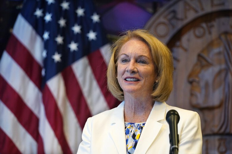 Seattle Mayor Jenny Durkan addresses a news conference about changes being made in the police department in  September. On Tuesday the City Council received a spending plan resulting from Durkan's proposal to spend millions of dollars with communities of color. (Elaine Thompson / AP)