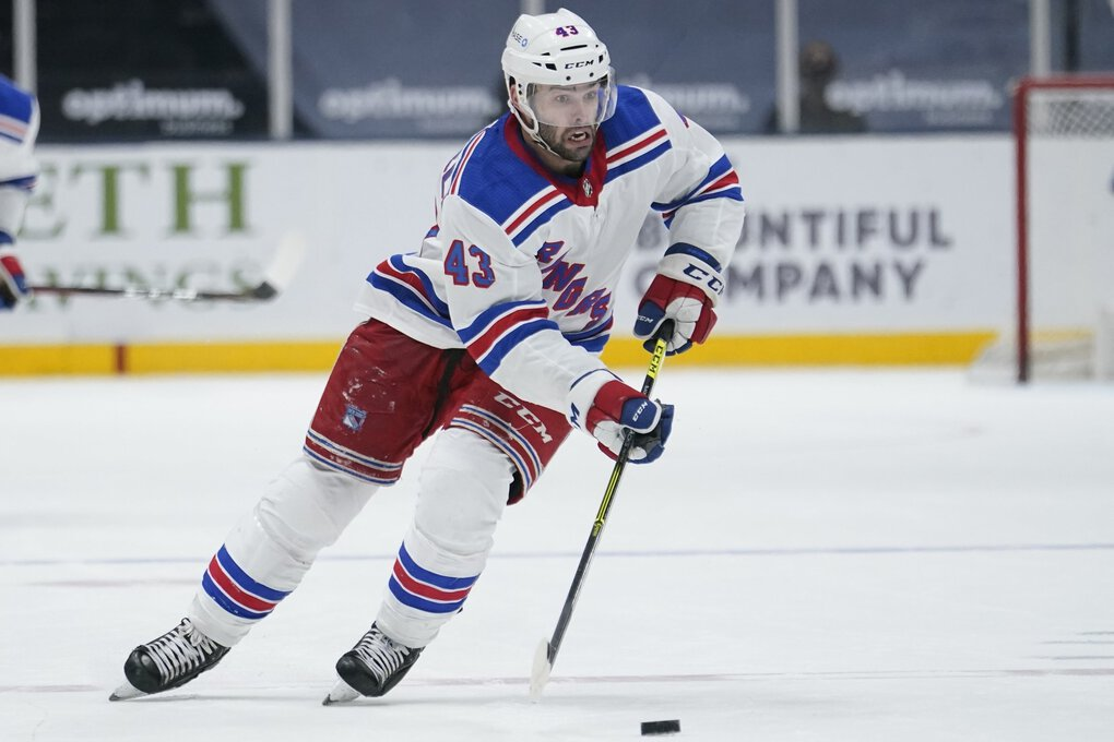 New York Rangers' Colin Blackwell (43) during the third period of an NHL hockey game against the New York Islanders Saturday, May 1, 2021, in Uniondale, N.Y. The Islanders won 3-0. (Frank Franklin II / AP)