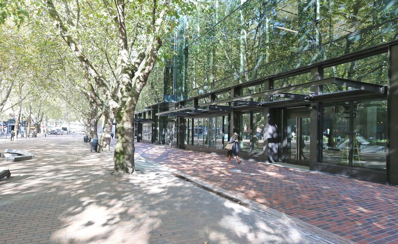 The Weyerhaeuser headquarters in Pioneer Square in Seattle. The 121-year-old company hit a record profit of $1 billion in the March-to-June quarter for 2021. (Greg Gilbert / The Seattle Times, file)
