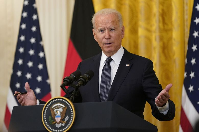 U.S. President Joe Biden attends a news conference with Angela Merkel, Germany's chancellor, not pictured, in the East Room of the White House in Washington, D.C., U.S., on Thursday, July 15, 2021.  Photographer: Alex Edelman/CNP/Bloomberg (Bloomberg)