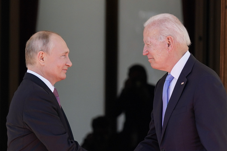 """FILE – In this June 16, 2021 file photo, President Joe Biden and Russian President Vladimir Putin, arrive to meet at the 'Villa la Grange',  in Geneva, Switzerland. In their search for a new approach to arms control, Moscow and Washington are likely to soon encounter an old bugaboo: Russia's demand that the U.S. stop resisting limits on its missile defenses, which the Russians view as a long-term threat and the Americans see as a deterrent to war. It is likely to arise when U.S. and Russian officials open a """"strategic stability"""" dialogue Wednesday in Geneva — talks meant to lay the groundwork for future arms control and to reduce the risk of nuclear war.  (AP Photo/Patrick Semansky)"""