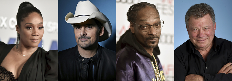 This combination photo shows, from eft, Tiffany Haddish, Brad Paisley, Snoop Dogg and William Shatner who will participate in  this year's Shark Week, with a new record of 45 hours of programming on the Discovery Channel and streaming on discovery+ between July 11-18. (AP Photo)