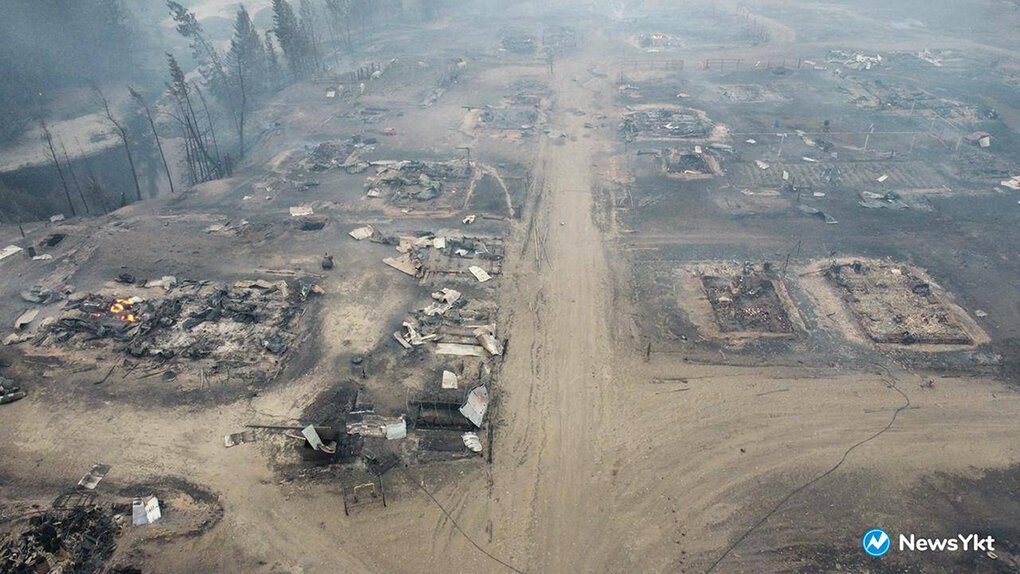 Russia is fighting more than 170 forest fires in Siberia that have closed airports and roads, forced widespread evacuations and sent a pall of smoke across the North Pole. Above, an aerial view Sunday of the Byas-Kuel village in the far east of Russia after a wildfire. (NewsYkt via AP)