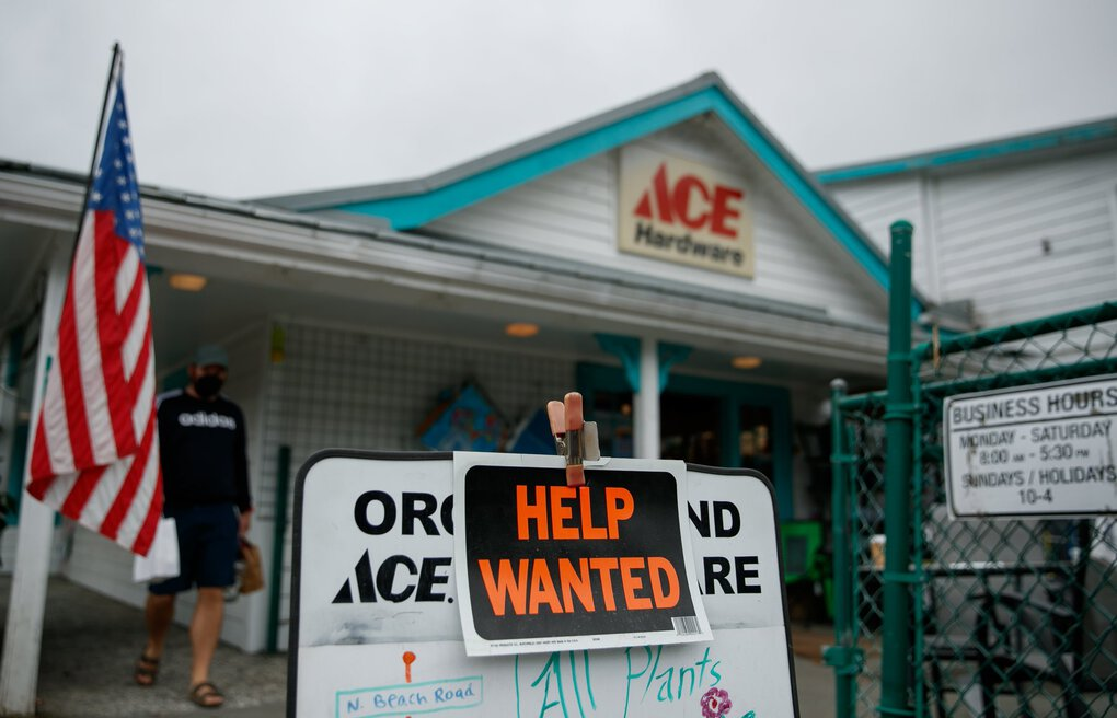 A sign at Orcas Island Hardware in Eastsound is seen on Thursday. Locals at the hardware store say many stores and restaurants struggle with finding full-time workers and housing for them.   (Erika Schultz / The Seattle Times)