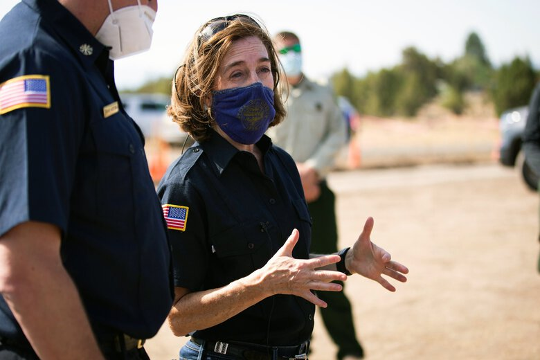 Oregon Gov. Kate Brown urged Oregonians  to wear masks and get vaccinated as the highly transmissible delta variant continues to run rampant in the state. (Arden Barnes / The Associated Press)