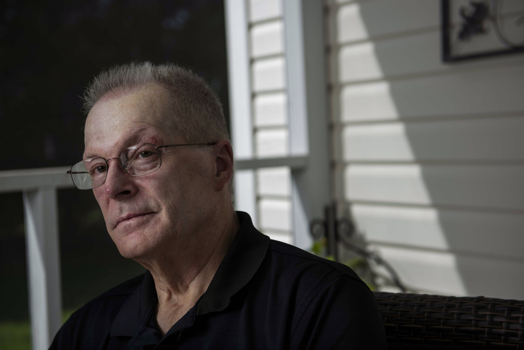 John Yates is shown outside the home he shares with his wife, Ellen, in Rocky Mount, N.C., on Aug. 26, 2021. (Photo for The Washington Post by Amanda Voisard)