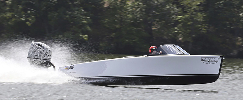 """Vision Marine Technologies' Bruce 22 electric boat. """"Electric boats used to be good for just cruising around,"""" said Alex Mongeon, the company's CEO. """"Now they have more power and last a long longer."""" (Jeff Helmkamp / LakeExpo via The Associated Press)"""