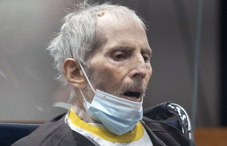 New York real estate scion Robert Durst, 78, sits in the courtroom as he is sentenced to life in prison without chance of parole, Thursday, Oct. 14, 2021 at the Airport Courthouse in Los Angeles. New York real estate heir Robert Durst was sentenced Thursday to life in prison without chance of parole for the murder of his best friend more that two decades ago. (Myung J. Chung/Los Angeles Times via AP, Pool) CALOS403 CALOS403